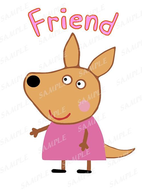 Peppa Pig Kylie Kangaroo shirt, Iron on transfer. Friend. JPG, PNG download
