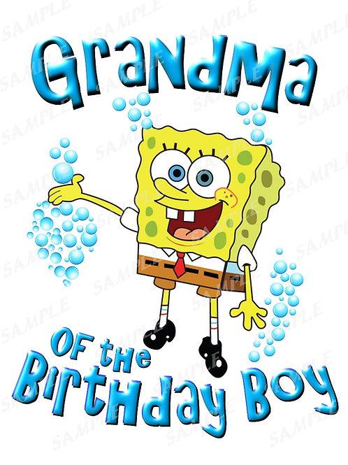 SpongeBob Birthday Shirt. SpongeBob Iron on Transfer. Grandma Shirt