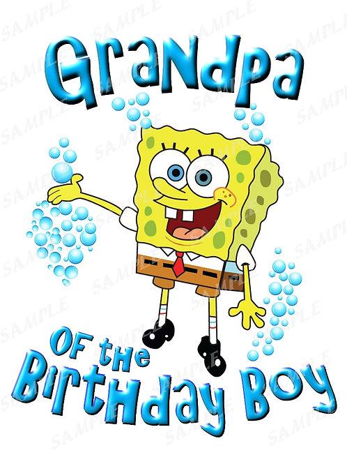 SpongeBob Birthday Shirt. SpongeBob Iron on Transfer. Grandpa Shirt