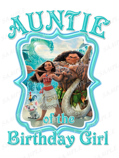 Moana Birthday t-shirt. Moana Transfer. Auntie shirt.