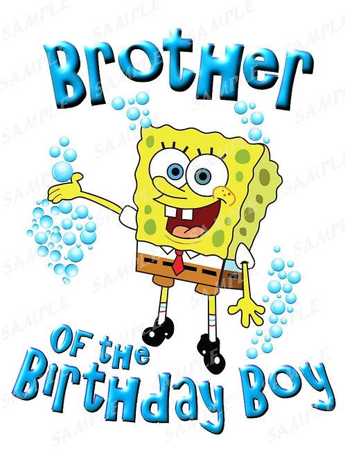 SpongeBob Birthday Shirt. SpongeBob Iron on Transfer. Brother Shirt