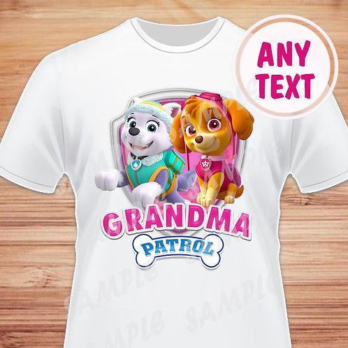 Paw Patrol Skye Everest Birthday Shirt. Paw Patrol transfer. Grandma