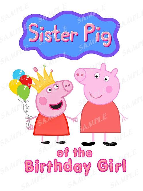 Peppa Pig Sister Birthday Shirt, Iron on Transfer. PNG, JPG