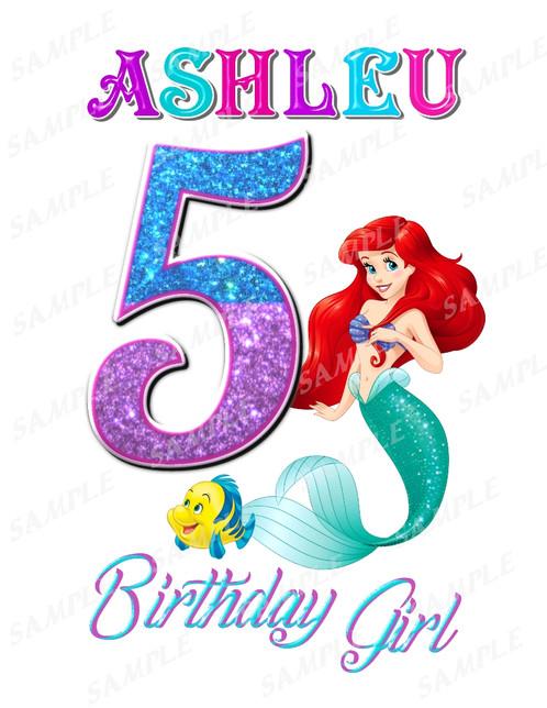 The Little Mermaid Birthday ShirtThe Iron OnBirthday Girlqzj
