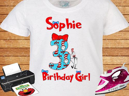 Birthday Girl Dr. Seuss iron on transfer, Dr. Seuss shirt clipart png