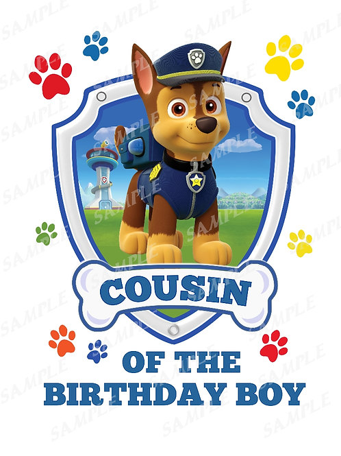 Chase Paw Patrol Birthday Shirt, Iron on transfer. Cousin images jpg