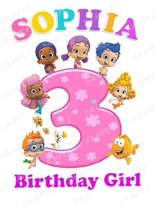 Bubble Guppies Birthday Shirt. Bubble Guppies Iron on Birthday Girl