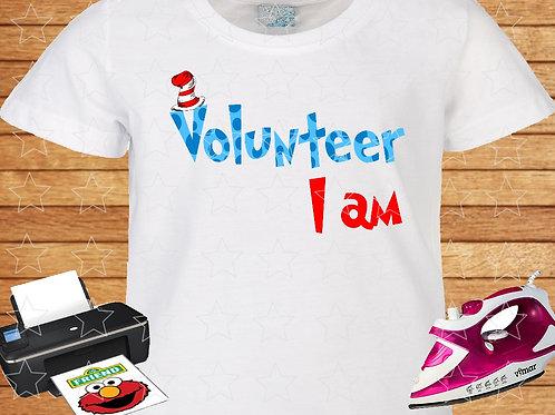 Volunteer I am Dr. Seuss iron on transfer, Dr. Seuss shirt clipart png jpeg