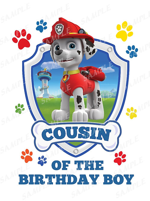 Paw patrol Marshall | cousin | instant download | iron on transfer