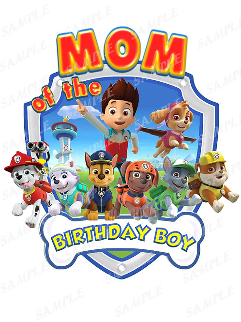 Paw Patrol Chase Marshall Birthday Shirt, Iron on transfer Mom