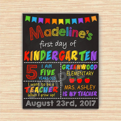 kindergarten sign, first day sign, template