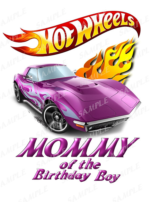 Hot wheels birthday shirt, iron on transfer, printable png. Mommy