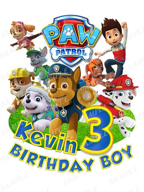paw patrol iron on transfer birthday boy