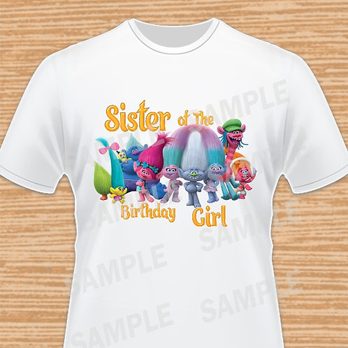 Trolls Birthday Shirt, Trolls iron on Transfer, Trolls Sister, Trolls