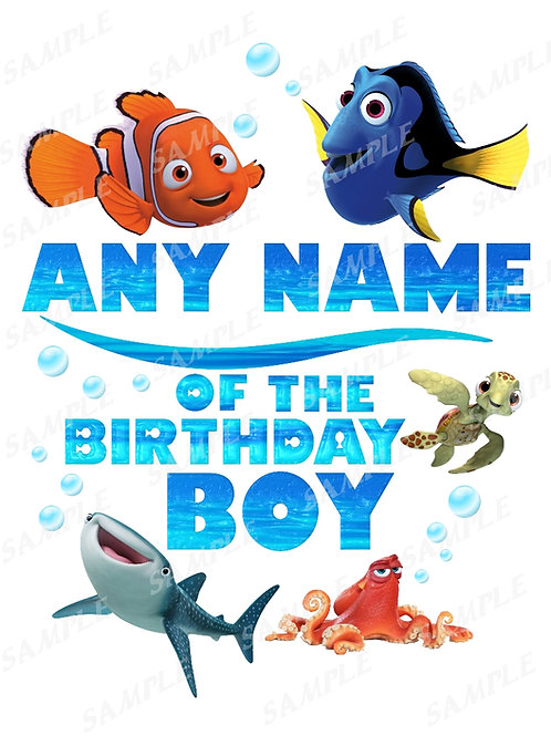 Finding Dory Birthday Shirt, Iron on Transfer, Printable png. Any Name
