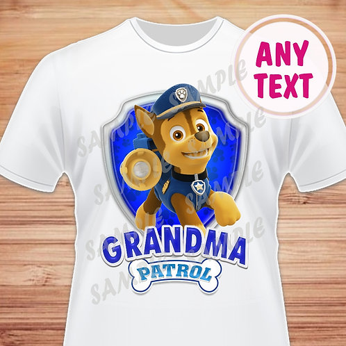 Paw Patrol Chase Birthday Shirt. Paw Patrol Iron on Transfer. Grandma
