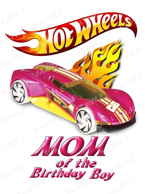 Hot wheels birthday shirt, iron on transfer, printable png. Mom