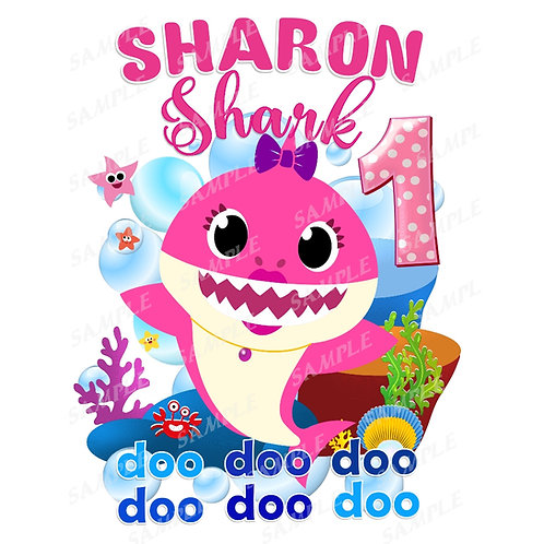 Baby Shark Birthday Shirt. Iron on Transfer. Birthday Girl