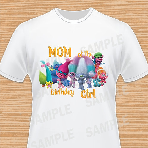 Trolls Birthday Shirt, Trolls iron on Transfer, Trolls Mom, Poppy