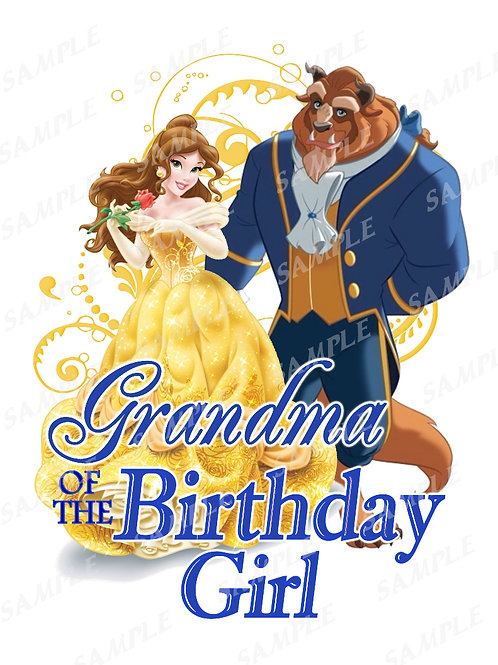 Beauty and the Beast Birthday Shirt, Heat Transfer, iron on. Grandma
