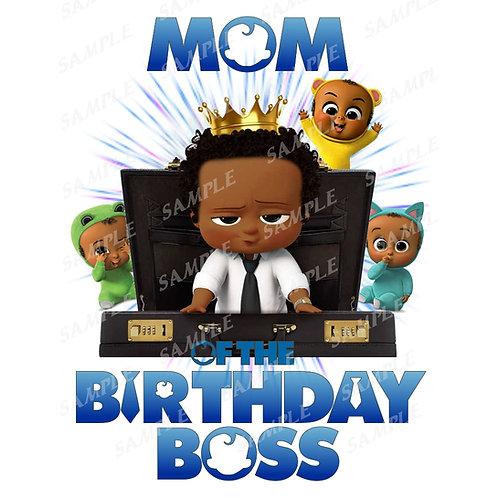 Boss Baby Birthday Shirt, Iron on. African American Boy. Mom