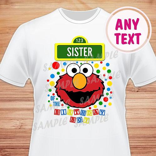 Sesame Street Elmo Birthday Shirt. Iron on. Sister of Birthday Boy