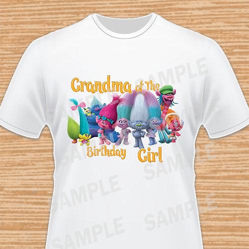 Trolls Birthday Shirt, Trolls iron on Transfer, Trolls Grandma, Poppy