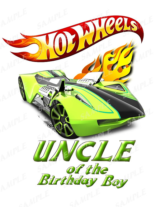Hot wheels birthday shirt, iron on transfer, printable png. Uncle