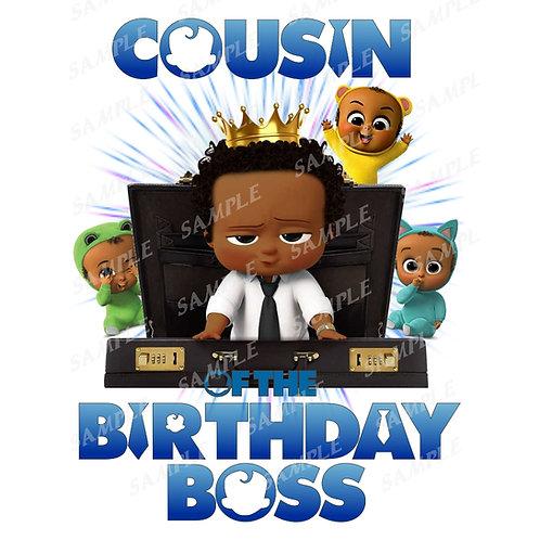 Boss Baby Birthday Shirt, Iron on. African American Boy. Cousin