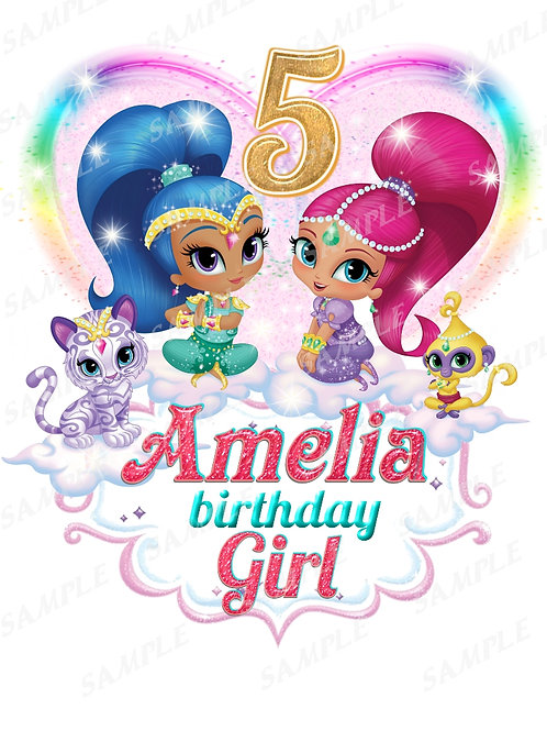 Shimmer and Shine Iron On Transfer, Shimmer and Shine Personalized
