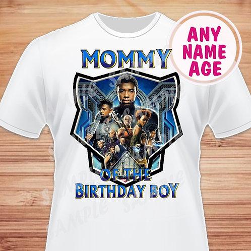 Black Panther Birthday Shirt. Heat Transfer. Mommy of the Birthday Boy