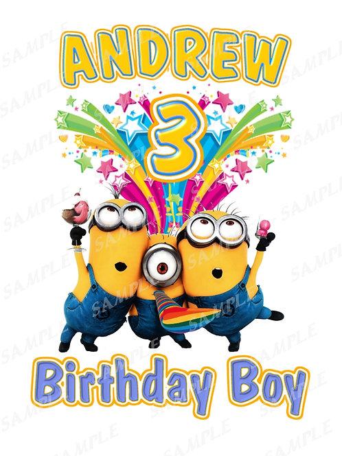 Minions Birthday shirt. Minions Iron on transfer. Download Name Age