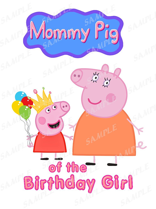 Peppa Pig birthday shirt, Iron on. Mommy Pig of the birthday girl. PNG