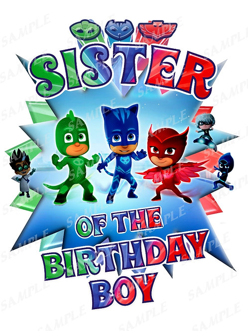 PJ Masks Birthday Shirt. PJ Masks Iron on Transfer. Sister