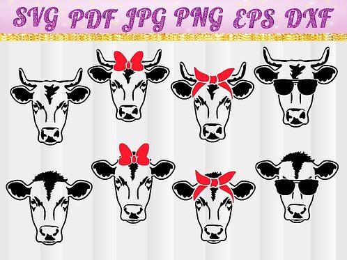 Farm svg, Cow with Bandana svg