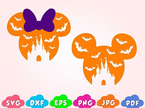 Disney Halloween Mickey SVG, bat, castle svg