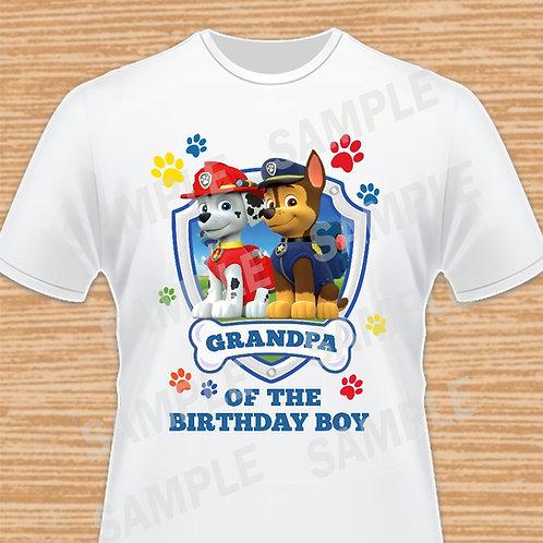 Paw Patrol Chase Marshall Birthday Shirt, Iron on transfer. Grandpa