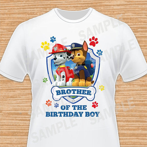 Paw Patrol Chase Marshall Birthday Shirt, Iron on transfer. Brother