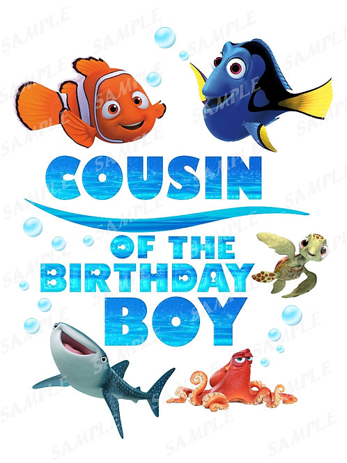Finding Dory Birthday Shirt, Iron on Transfer, Printable png. Cousin