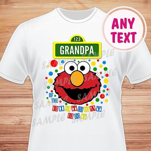 Sesame Street Elmo Birthday Shirt. Iron on. Grandpa of Birthday Boy