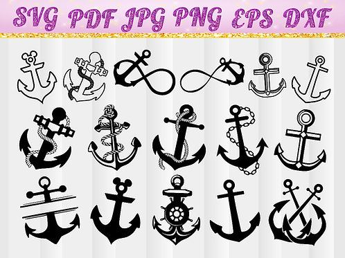 Anchor SVG, Cricut Files, Silhouette Files, Cameo, Vector, T-shirt, Iron On
