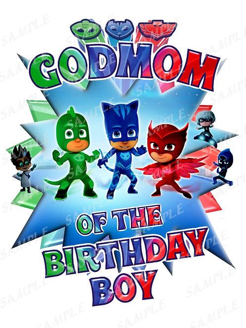 PJ Masks Birthday Shirt. PJ Masks Iron on Transfer. Godmom