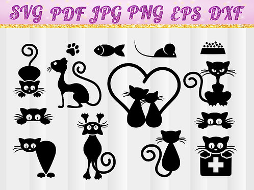 cat svg, cat vector files
