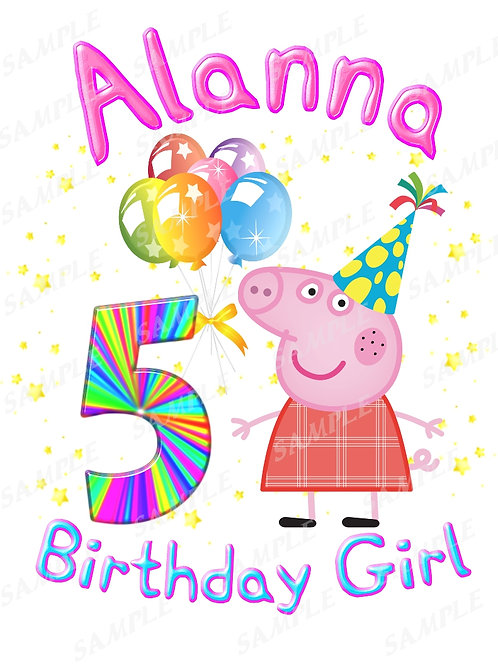 Peppa Pig Birthday Girl. Peppa Pig Iron on Transfer. Design #4