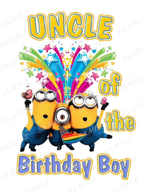 Minions Birthday shirt. Minions Iron on transfer. Download Uncle