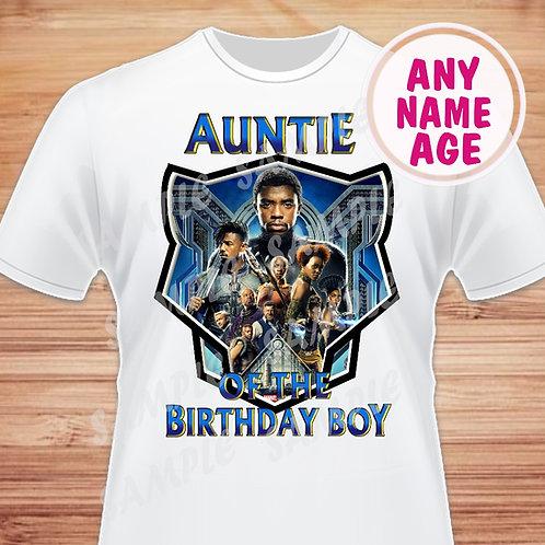 Black Panther Birthday Shirt. Iron on Transfer Auntie of Birthday Boy