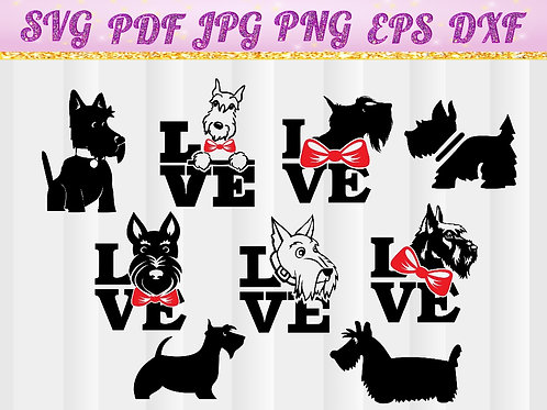 Dog love svg, Scottish Terrier Dog Love svg