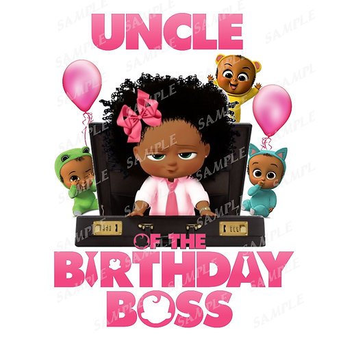 Boss Baby Birthday Shirt, Iron on. African American Girl. Uncle