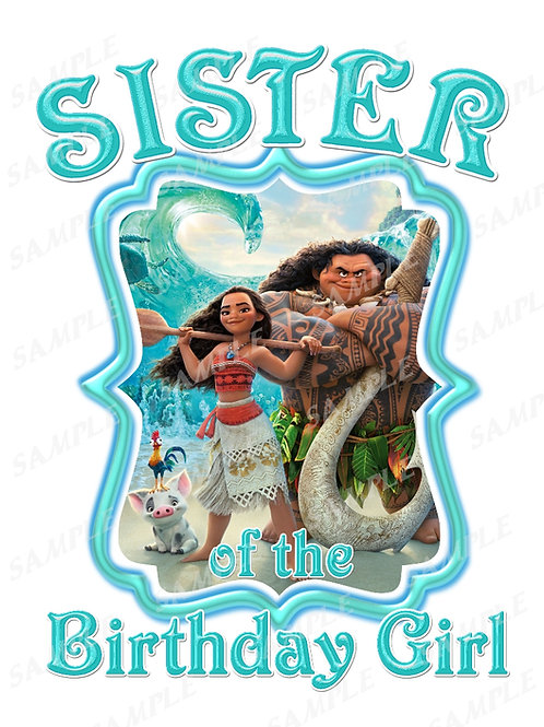 Moana Birthday t-shirt. Moana Transfer. Sister shirt.