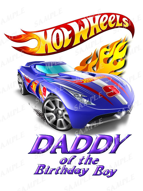 Hot wheels birthday shirt, iron on transfer, printable png. Daddy